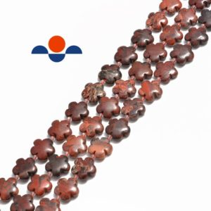 """Mix Red Jasper Flower Shape Beads Size 15mm 15.5"""" Strand 