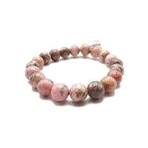 """Shop Rhodochrosite Bracelets! Rhodochrosite Bracelet Smooth Round Size 10mm 7.5"""" Length 