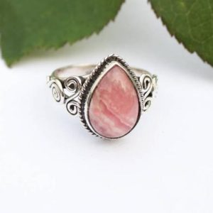 Shop Rhodochrosite Rings! Rhodochrosite Ring, Sterling Silver Ring, Rhodochrosite Jewelry, Dainty Rings, Boho Ring, Friendship Ring, Natural Pale Pink Stone Ring | Natural genuine Rhodochrosite rings, simple unique handcrafted gemstone rings. #rings #jewelry #shopping #gift #handmade #fashion #style #affiliate #ad