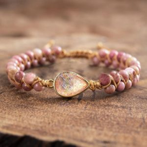 Natural Rhodonite Stone Healing Bracelet-inspirational Balancing Calm Bracelet-spiritual Protection Meditation Anxiety Stress Relief Gift | Natural genuine Gemstone bracelets. Buy crystal jewelry, handmade handcrafted artisan jewelry for women.  Unique handmade gift ideas. #jewelry #beadedbracelets #beadedjewelry #gift #shopping #handmadejewelry #fashion #style #product #bracelets #affiliate #ad