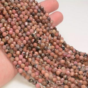 Shop Rhodonite Faceted Beads! 5MM Rhodonite Gemstone Grade AA Micro Faceted Round Beads 15.5 inch Full Strand BULK LOT 1,2,6,12 and 50(80010049-A199) | Natural genuine faceted Rhodonite beads for beading and jewelry making.  #jewelry #beads #beadedjewelry #diyjewelry #jewelrymaking #beadstore #beading #affiliate #ad