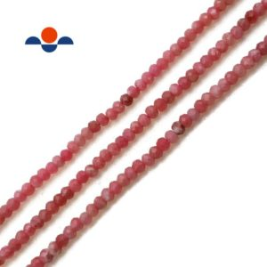 Shop Rhodonite Faceted Beads! Natural Rhodonite Faceted Rondelle Beads Size 1x2mm 15.5'' per Strand | Natural genuine faceted Rhodonite beads for beading and jewelry making.  #jewelry #beads #beadedjewelry #diyjewelry #jewelrymaking #beadstore #beading #affiliate #ad
