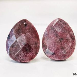Shop Rhodonite Faceted Beads! XXL/ Rhodonite 35x45mm Faceted Flat Pear Pendant Large Size Pink Faceted Flat Teardrop Pendant Shade varies | Natural genuine faceted Rhodonite beads for beading and jewelry making.  #jewelry #beads #beadedjewelry #diyjewelry #jewelrymaking #beadstore #beading #affiliate #ad