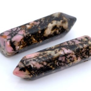 Shop Rhodonite Bead Shapes! 2 Pcs – 30x8MM Rhodonite Beads Healing Hexagonal Pointed Grade AAA Genuine Natural Loose Beads (105398) | Natural genuine other-shape Rhodonite beads for beading and jewelry making.  #jewelry #beads #beadedjewelry #diyjewelry #jewelrymaking #beadstore #beading #affiliate #ad