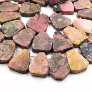 Shop Rhodonite Bead Shapes! Rhodonite Beads | Freeform Fan Shaped Gemstone Beads | 20mm x 25mm – 30mm x 34mm Graduated Fan Shaped Beads | Natural genuine other-shape Rhodonite beads for beading and jewelry making.  #jewelry #beads #beadedjewelry #diyjewelry #jewelrymaking #beadstore #beading #affiliate #ad