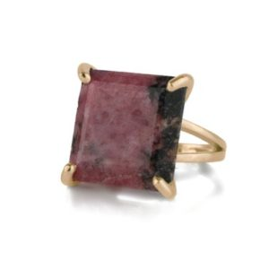 Shop Rhodonite Rings! 14k Rose Gold Rhodonite Ring · Square Gemstone Ring · Gold Semiprecious Ring · Ring For Birthdays · Statement Ring · Anniversary Gift | Natural genuine Rhodonite rings, simple unique handcrafted gemstone rings. #rings #jewelry #shopping #gift #handmade #fashion #style #affiliate #ad