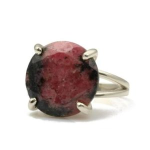 Shop Rhodonite Rings! Sterling Silver Rhodonite Ring  · 925 Silver Ring · Rhodonite Gem Ring  · Birthday Gift Ring  · Statement Cocktail Ring  · Gemstone Ring | Natural genuine Rhodonite rings, simple unique handcrafted gemstone rings. #rings #jewelry #shopping #gift #handmade #fashion #style #affiliate #ad