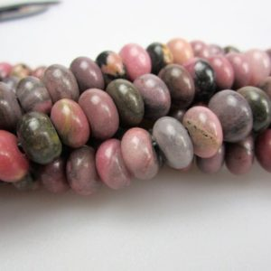 """Shop Rhodonite Rondelle Beads! Rhodonite Smooth Rondelle Beads 5x8mm 6x10mm 15.5"""" Strand 