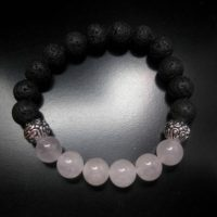 Rose Quartz Lava Stone Bracelet, Lava Stone Jewelry, Stretch Bracelet, Black Bracelet Jewelry, Diffuser Bracelet Diffuser Jewelry | Natural genuine Gemstone jewelry. Buy crystal jewelry, handmade handcrafted artisan jewelry for women.  Unique handmade gift ideas. #jewelry #beadedjewelry #beadedjewelry #gift #shopping #handmadejewelry #fashion #style #product #jewelry #affiliate #ad