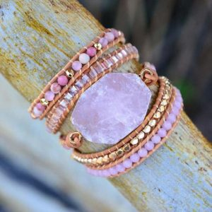 Rose Quartz Bracelet-pink Stone Bracelet-healing Crystal Bracelet With Beads-natural Gemstone Leather Wrap Bracelet-pink Crystal Bracelet | Natural genuine Array bracelets. Buy crystal jewelry, handmade handcrafted artisan jewelry for women.  Unique handmade gift ideas. #jewelry #beadedbracelets #beadedjewelry #gift #shopping #handmadejewelry #fashion #style #product #bracelets #affiliate #ad