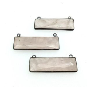 Shop Rose Quartz Faceted Beads! Rose Quartz Bezel | Gunmetal Plated Faceted Rectangle Bar Shaped Bezel Connector ~ 12mm x 40mm – Sold Individually, Chosen Randomly | Natural genuine faceted Rose Quartz beads for beading and jewelry making.  #jewelry #beads #beadedjewelry #diyjewelry #jewelrymaking #beadstore #beading #affiliate #ad
