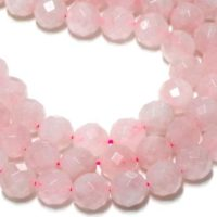 "Large Faceted Rose Quartz Beads, unique Stone Beads, 14mm Beads, beads For Necklaces, beads Lot, Mixed Lot Beads – 16"" Full Strand 