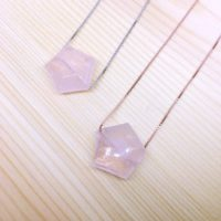 Rose Quartz Necklace, Rosenquarz Halskette, Stockings Stuffers, Sterling Silver, Pentagon Quartz, Advent Calendar Filler, Girlfriend Gift | Natural genuine Gemstone jewelry. Buy crystal jewelry, handmade handcrafted artisan jewelry for women.  Unique handmade gift ideas. #jewelry #beadedjewelry #beadedjewelry #gift #shopping #handmadejewelry #fashion #style #product #jewelry #affiliate #ad