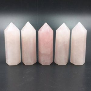 "1.8"" Rose Quartz Crystal Tower Point Pink Crystal Obelisk Standing Point Wand Meditation Healing Reiki Crystal Grid Supply Generator Decor 
