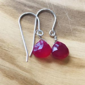 Shop Ruby Earrings! Ruby Earrings Chalcedony Earrings Red  Earrings Boho Earrings July Birthstone Bohemian Red Ruby Earrings Briolette Earrings Gift for her | Natural genuine Ruby earrings. Buy crystal jewelry, handmade handcrafted artisan jewelry for women.  Unique handmade gift ideas. #jewelry #beadedearrings #beadedjewelry #gift #shopping #handmadejewelry #fashion #style #product #earrings #affiliate #ad