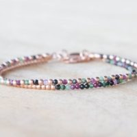 Ruby Zoisite Bracelet Set, Sterling Silver Or Rose Gold Filled, Delicate Dainty Gemstone Jewelry | Natural genuine Gemstone jewelry. Buy crystal jewelry, handmade handcrafted artisan jewelry for women.  Unique handmade gift ideas. #jewelry #beadedjewelry #beadedjewelry #gift #shopping #handmadejewelry #fashion #style #product #jewelry #affiliate #ad