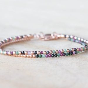 Shop Ruby Zoisite Jewelry! Ruby Zoisite Bracelet Set, Sterling Silver Or Rose Gold Filled, Delicate Dainty Gemstone Jewelry | Natural genuine Ruby Zoisite jewelry. Buy crystal jewelry, handmade handcrafted artisan jewelry for women.  Unique handmade gift ideas. #jewelry #beadedjewelry #beadedjewelry #gift #shopping #handmadejewelry #fashion #style #product #jewelry #affiliate #ad