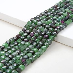 Shop Ruby Zoisite Faceted Beads! 4-5MM  Ruby Zoisite Gemstone Grade AA Micro Faceted Square Cube Loose Beads (P6) | Natural genuine faceted Ruby Zoisite beads for beading and jewelry making.  #jewelry #beads #beadedjewelry #diyjewelry #jewelrymaking #beadstore #beading #affiliate #ad