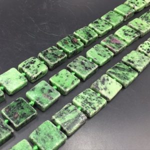 "Rectangle Zoisite Beads Flat Square Zoisite with Ruby Slice Slab Beads Ruby in Zoisite Gemstone Beads 13-18mm 15.5"" full strand 