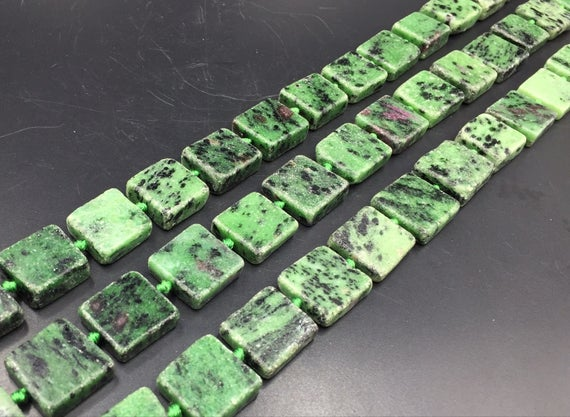 """Rectangle Zoisite Beads Flat Square Zoisite With Ruby Slice Slab Beads Ruby In Zoisite Gemstone Beads 13-18mm 15.5"""" Full Strand"""