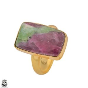 Shop Ruby Zoisite Rings! Size 10.5 – Size 12 Adjustable Ruby Zoisite 24K Gold Plated Ring GPR1207 | Natural genuine Ruby Zoisite rings, simple unique handcrafted gemstone rings. #rings #jewelry #shopping #gift #handmade #fashion #style #affiliate #ad