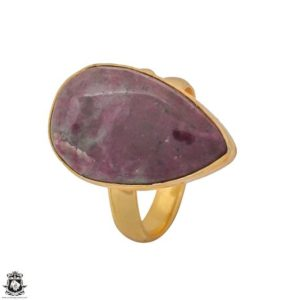 Shop Ruby Zoisite Rings! Size 9.5 – Size 11 Adjustable Ruby Zoisite 24K Gold Plated Ring GPR1221 | Natural genuine Ruby Zoisite rings, simple unique handcrafted gemstone rings. #rings #jewelry #shopping #gift #handmade #fashion #style #affiliate #ad