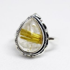 Shop Rutilated Quartz Rings! Natural Golden Rutile Ring, rutilated Quartz Ring, Sold 925 Sterling Silver Ring, Handmade Jewelry, Rutile Ring, Natural Birthstone Gift Ring | Natural genuine Rutilated Quartz rings, simple unique handcrafted gemstone rings. #rings #jewelry #shopping #gift #handmade #fashion #style #affiliate #ad
