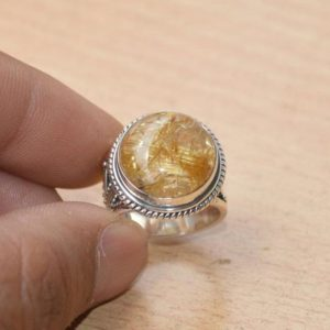 Shop Rutilated Quartz Rings! Round Designer Natural Yellow Rutilated Quartz Ring, solid 925 Sterling Silver Mother's Day Gift, yellow Rutile Ring, handmade Jewelry Gift | Natural genuine Rutilated Quartz rings, simple unique handcrafted gemstone rings. #rings #jewelry #shopping #gift #handmade #fashion #style #affiliate #ad