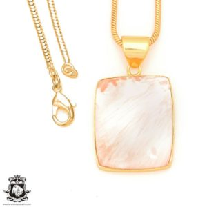 Shop Scolecite Pendants! Scolecite 24K Gold Plated Pendant 3MM Italian Snake Chain GPH406 | Natural genuine Scolecite pendants. Buy crystal jewelry, handmade handcrafted artisan jewelry for women.  Unique handmade gift ideas. #jewelry #beadedpendants #beadedjewelry #gift #shopping #handmadejewelry #fashion #style #product #pendants #affiliate #ad