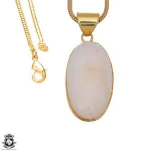 Shop Scolecite Pendants! White Scolecite 24k Gold Plated Pendant 3mm Italian Snake Chain Gph1652 | Natural genuine Scolecite pendants. Buy crystal jewelry, handmade handcrafted artisan jewelry for women.  Unique handmade gift ideas. #jewelry #beadedpendants #beadedjewelry #gift #shopping #handmadejewelry #fashion #style #product #pendants #affiliate #ad