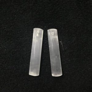 Shop Selenite Pendants! Natural White Selenite Long Rectangle-Shaped 10x48mm Gemstone Genuine Freeshape Pendant —1 Pair(2pcs) | Natural genuine Selenite pendants. Buy crystal jewelry, handmade handcrafted artisan jewelry for women.  Unique handmade gift ideas. #jewelry #beadedpendants #beadedjewelry #gift #shopping #handmadejewelry #fashion #style #product #pendants #affiliate #ad