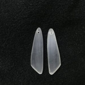 Shop Selenite Pendants! Natural White Selenite Wing-Shaped 12x45mm Gemstone Genuine Freeshape Pendant —1 Pair(2pcs) | Natural genuine Selenite pendants. Buy crystal jewelry, handmade handcrafted artisan jewelry for women.  Unique handmade gift ideas. #jewelry #beadedpendants #beadedjewelry #gift #shopping #handmadejewelry #fashion #style #product #pendants #affiliate #ad