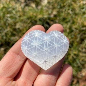 Shop Selenite Shapes! Flower of Life Selenite Heart Crystal – Flower of Life selenite crystal – Healing Crystals and stones – Selenite Stone – Sacred Selenite | Natural genuine stones & crystals in various shapes & sizes. Buy raw cut, tumbled, or polished gemstones for making jewelry or crystal healing energy vibration raising reiki stones. #crystals #gemstones #crystalhealing #crystalsandgemstones #energyhealing #affiliate #ad