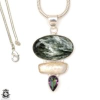 Seraphinite Pendant 4mm Italian Snake Chain P6694 | Natural genuine Gemstone jewelry. Buy crystal jewelry, handmade handcrafted artisan jewelry for women.  Unique handmade gift ideas. #jewelry #beadedjewelry #beadedjewelry #gift #shopping #handmadejewelry #fashion #style #product #jewelry #affiliate #ad