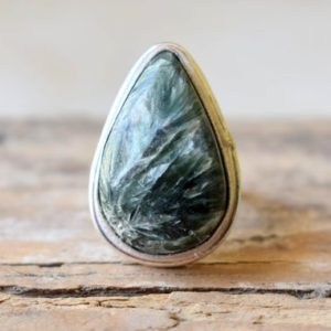 Shop Seraphinite Rings! Seraphinite ring, Statement Ring/ 925 Sterling Silver Ring/ Gifts for her/ Birthstone Jewelry/ Handmade Ring/ Boho Rings #B330   Natural genuine Seraphinite rings, simple unique handcrafted gemstone rings. #rings #jewelry #shopping #gift #handmade #fashion #style #affiliate #ad