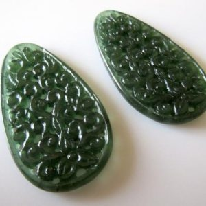 Shop Serpentine Jewelry! Unique Hand Carved Green Serpentine Gemstone Carving, Filigree Finding, Natural Serpentine Earrings 51x27mm Each, Sku-tc71 | Natural genuine Serpentine jewelry. Buy crystal jewelry, handmade handcrafted artisan jewelry for women.  Unique handmade gift ideas. #jewelry #beadedjewelry #beadedjewelry #gift #shopping #handmadejewelry #fashion #style #product #jewelry #affiliate #ad