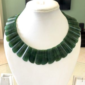 """Shop Serpentine Necklaces! Natural Green Serpentine Layout Necklace Gemstone Bib Necklace Cleopatra Necklace Collar Necklace For Women, 13""""/24mm To 31mm, GDS1915 