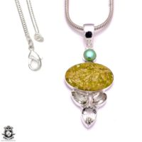 3 Inch Serpentine Pendant 4mm Italian Snake Chain P8150 | Natural genuine Gemstone jewelry. Buy crystal jewelry, handmade handcrafted artisan jewelry for women.  Unique handmade gift ideas. #jewelry #beadedjewelry #beadedjewelry #gift #shopping #handmadejewelry #fashion #style #product #jewelry #affiliate #ad