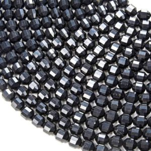 Shop Shungite Beads! 8MM Natural Shungite Gemstone Grade AAA Faceted Prism Double Point Cut Loose Beads BULK LOT 1,2,6,12 and 50 (D31) | Natural genuine faceted Shungite beads for beading and jewelry making.  #jewelry #beads #beadedjewelry #diyjewelry #jewelrymaking #beadstore #beading #affiliate #ad