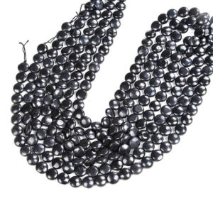 Shop Shungite Beads! Natural Smooth Shungite Gemstone Grade AAA Flat Button Coin 8MM 10MM 12MM Loose Beads (D47) | Natural genuine other-shape Shungite beads for beading and jewelry making.  #jewelry #beads #beadedjewelry #diyjewelry #jewelrymaking #beadstore #beading #affiliate #ad