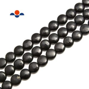 "Shungite Smooth Flat Coin Beads Size 10mm 12mm 15.5"" Strand 