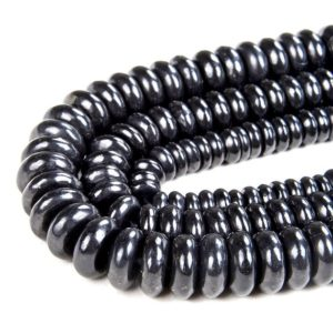 Shop Shungite Beads! Natural Smooth Shungite Gemstone Grade AAA Rondelle  6x2MM 8x3MM 10x4MM Loose Beads (D46) | Natural genuine rondelle Shungite beads for beading and jewelry making.  #jewelry #beads #beadedjewelry #diyjewelry #jewelrymaking #beadstore #beading #affiliate #ad