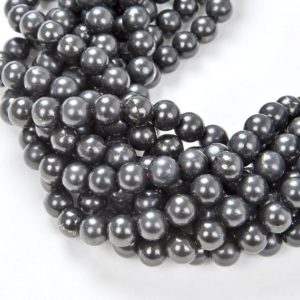 Shop Shungite Beads! 6mm Genuine Shungite Smooth Gemstone Anti Radiation High Carbon Grade AAA Round  15.5 inch Full Strand Loose Beads (80007677-A276) | Natural genuine round Shungite beads for beading and jewelry making.  #jewelry #beads #beadedjewelry #diyjewelry #jewelrymaking #beadstore #beading #affiliate #ad