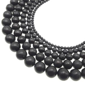 "High Carbon Shungite Smooth Round Beads 4mm 6mm 8mm 10mm 12mm 15.5"" Strand 