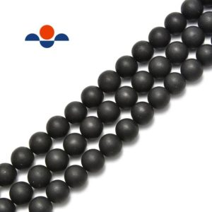 """Natural Shungite Matte Round Beads 4mm 6mm 8mm 10mm 12mm 14mm 15.5"""" Strand 