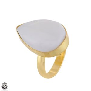 Shop Selenite Rings! Size 9.5 – Size 11 Adjustable Selenite 24K Gold Plated Ring GPR1745 | Natural genuine Selenite rings, simple unique handcrafted gemstone rings. #rings #jewelry #shopping #gift #handmade #fashion #style #affiliate #ad