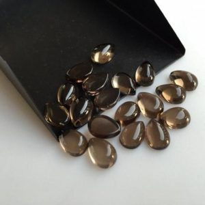 20 Pieces 10x8mm Each Smoky Quartz Pear Shaped Brown Color Smooth Flat Back Loose Cabochons Sku-sq3 | Natural genuine stones & crystals in various shapes & sizes. Buy raw cut, tumbled, or polished gemstones for making jewelry or crystal healing energy vibration raising reiki stones. #crystals #gemstones #crystalhealing #crystalsandgemstones #energyhealing #affiliate #ad