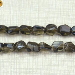 """Shop Smoky Quartz Chip & Nugget Beads! Smoky Quartz faceted nugget beads,centre drilled beads,Crystal Quartz,Crystal beads,size for Choice, 15"""" full strand 