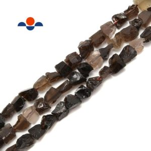"""Shop Smoky Quartz Chip & Nugget Beads! Smoky Quartz Rough Nugget Chunks Side Drill Beads Approx 8x11mm 15.5"""" Strand 