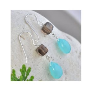 Shop Smoky Quartz Earrings! Blue Gemstone Earrings, Drop Dangle Chalcedony Earrings Handmade with Silver, Smoky Quartz Gemstones, Birthday Gifts | Natural genuine Smoky Quartz earrings. Buy crystal jewelry, handmade handcrafted artisan jewelry for women.  Unique handmade gift ideas. #jewelry #beadedearrings #beadedjewelry #gift #shopping #handmadejewelry #fashion #style #product #earrings #affiliate #ad